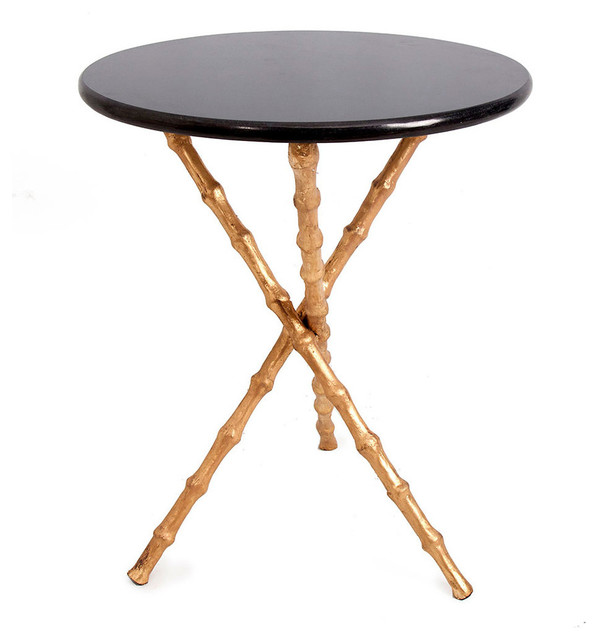 Charming Bamboo Tripod Table, Brass Legs Contemporary Side Tables And End