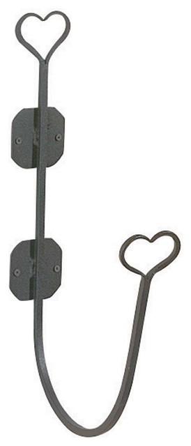 Bathroom Hose Holder Heart Black Wrought Iron Transitional Garden Hose Reels