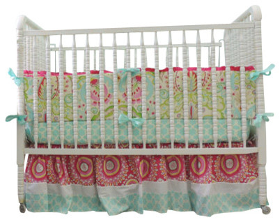 Boutique Crib Bedding Using Kumari Garden In Aqua Trellis, Pink U0026 Paisley  Fabric