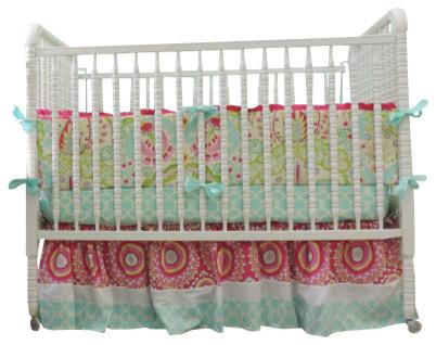 Boutique Crib Bedding Using Kumari Garden In Aqua Trellis, Pink U0026 Paisley  Fabric Mediterranean