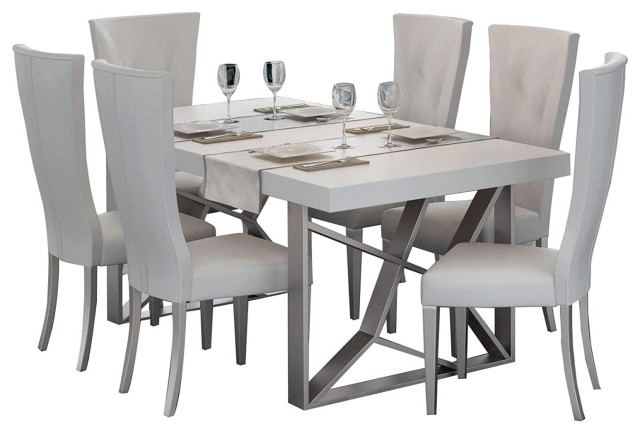 Kiu Modern 7 Piece Dining Room Set White Matte Grey Transitional Dining Sets By Bedtimenyc