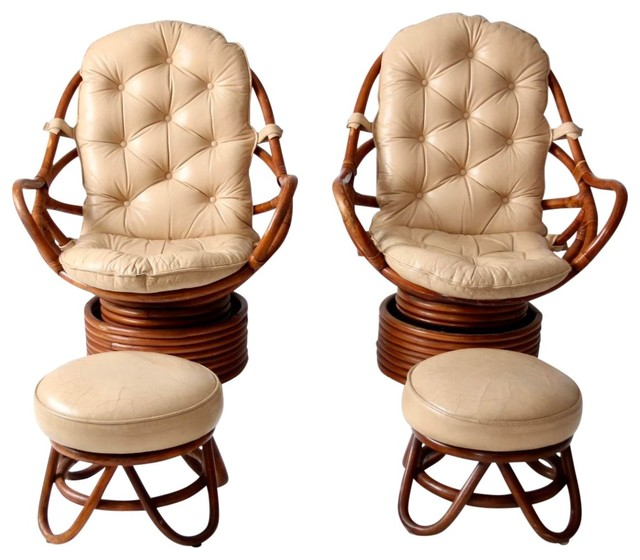 Awesome Consigned Mid Century Rattan Swivel Chairs With Ottomans 4 Piece Set Pabps2019 Chair Design Images Pabps2019Com