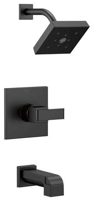 Delta Ara Matte Black Lever Handle Tub And Shower Combo