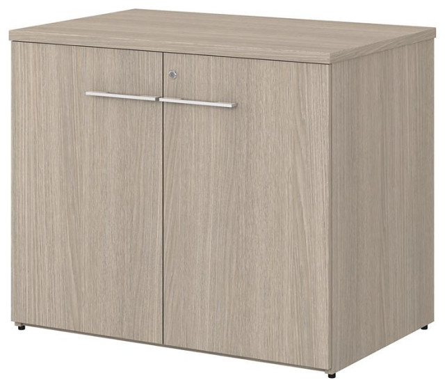 Office 500 36W Storage Cabinet with Doors in Sand Oak - Engineered Wood