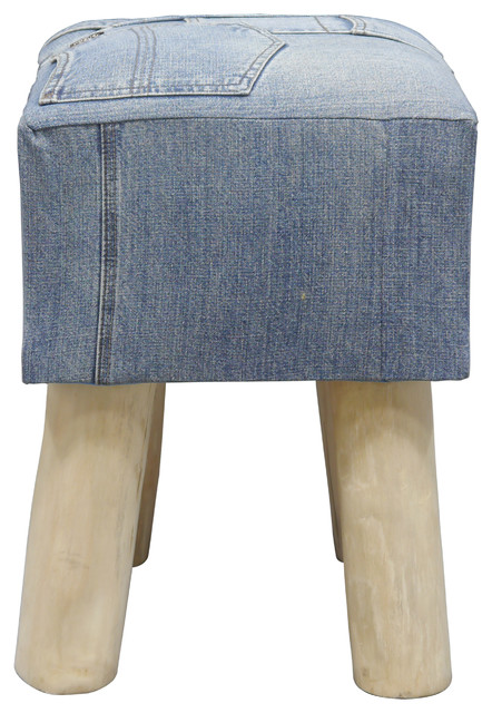 Teak Denim Low Stool Midcentury Footstools Amp Ottomans