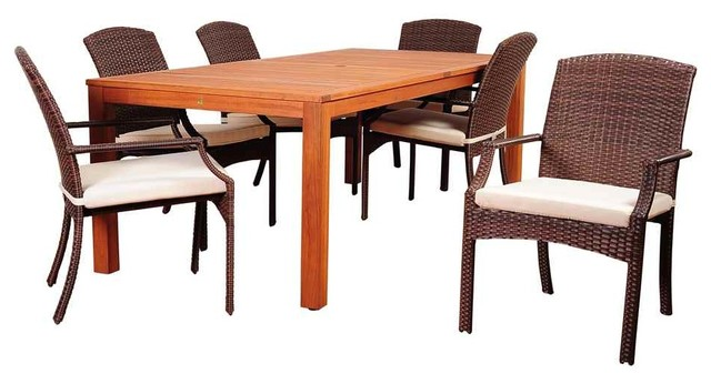 Orlando Wickerlook Rectangle Dining Set 7 Piece Brown With Florida Side Chairs