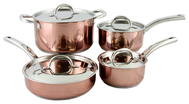 Oster Brookfield 8-Piece Cookware Set, Copper.