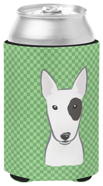 Green Checkered Bull Terrier Can/bottle Hugger.
