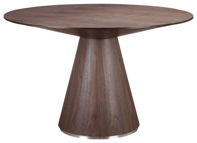 47 Quot W Dining Table Brushed Stainless Steel Base Round Polished Walnut Veneer