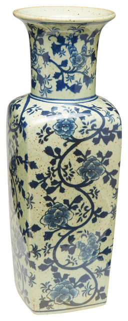 """17"""" Square Antique Speckled Blue and White Vase"""