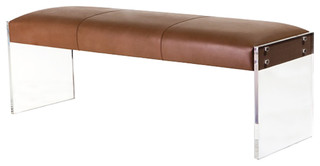 Interlude Home Aiden Leather Taupe Bench