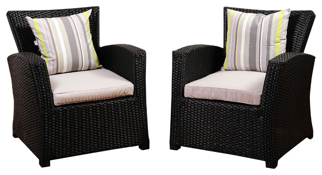 Atlantic Staffordshire 2 Piece Black Wicker Arm Chair Set, Light Grey  Cushions Tropical