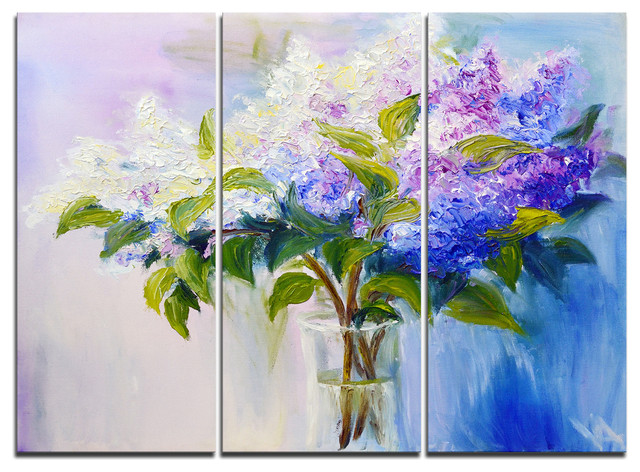 Blue And White Lilacs In Vase Canvas Art Print 3 Panels 36 X28 Contemporary Prints And Posters By Design Art Usa Houzz