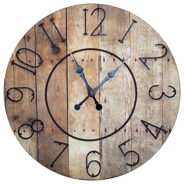 Round Wooden Slat Clock With Metal Numbers Rustic Wall Clocks