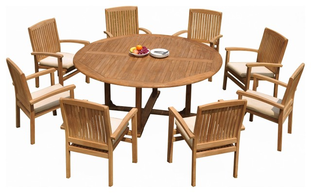 9 Piece Outdoor Teak Dining Set 72 Round Table 8 Wave Stacking Arm Chairs Transitional Sets By Deals
