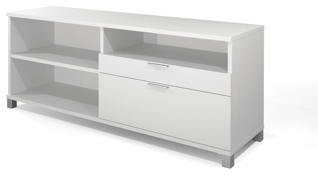 "Bestar - Modern 71"" White Credenza with File Drawer - View in Your Room! 