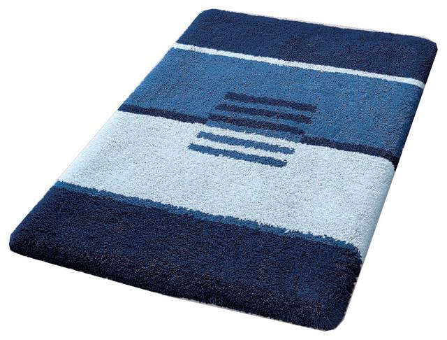 Modern Non Slip Washable Bathroom Rug Dark Blue Deco
