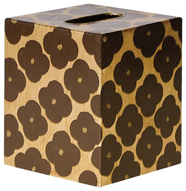 Worlds Away Kleenex Box Gold and Brown Pattern
