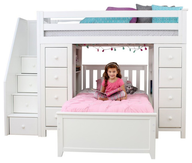 Chelsea Twin Twin L Shaped Storage Loft Bed with Stairs, White