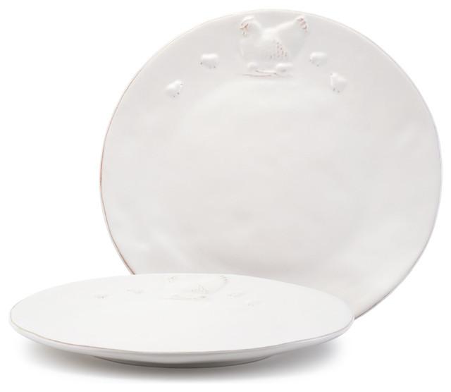 glazed chicken ceramic dinner plates white set of 2