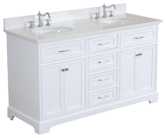 """Aria 60"""" Bath Vanity, Double Vanity, Top: Quartz, White"""