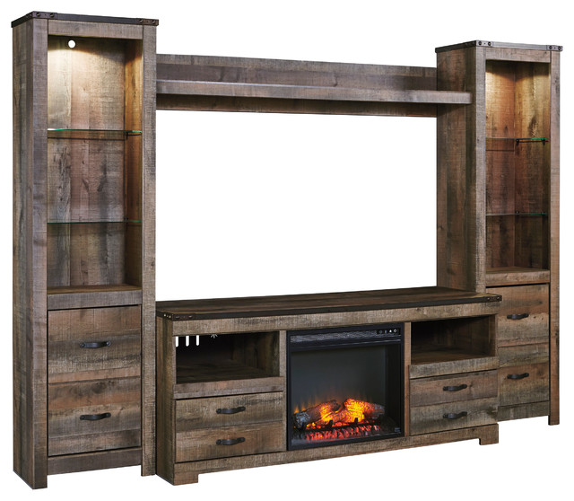 Ramada Plank Entertainment Center With Fireplace Insert