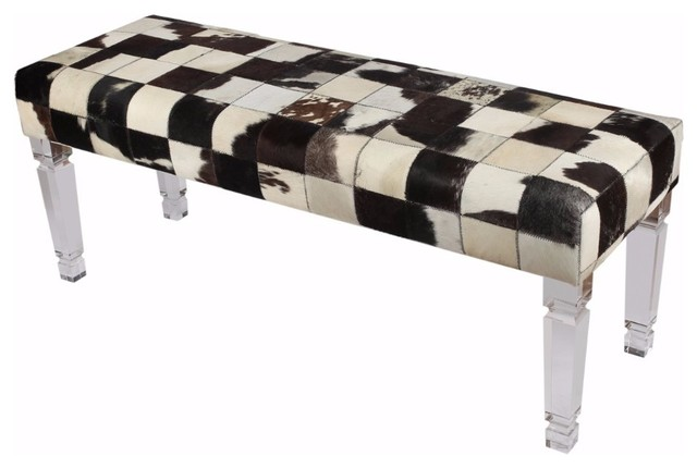 Ultra Intriguing Patchwork Cowhide Bench.