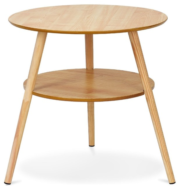 7eb3aef724ac 2-Tier Round End Coffee Table with Wooden Legs - Midcentury - Side Tables  And End Tables - by La La Lander