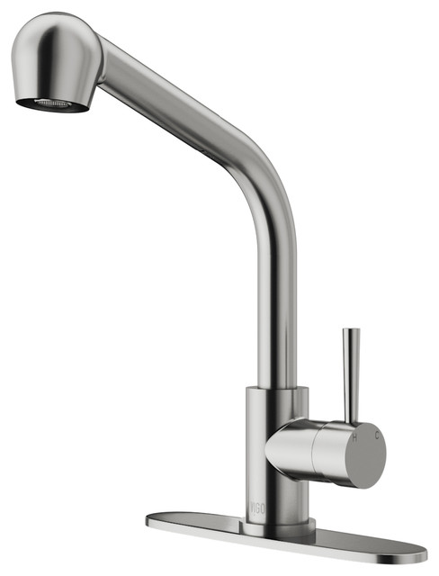 Vigo Pull-Out Spray Kitchen Faucet, Stainless Steel, With Deck Plate.