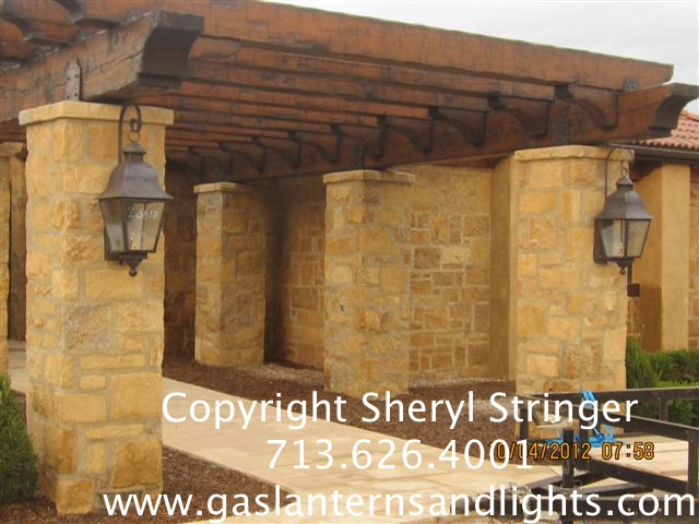 Sheryl's Tuscan Gas Lanterns with Top Curl