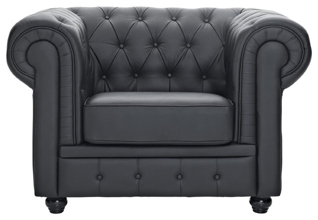 Classic Scroll Arm Tufted Bonded Leather Accent Chair, Black  traditional-armchairs-and- - Classic Scroll Arm Tufted Bonded Leather Accent Chair