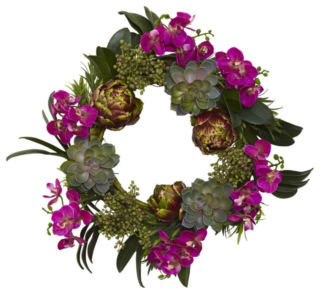 Silk Flowers -20 Inch Orchid Artichoke And Succulent Wreath Artificial Plant.