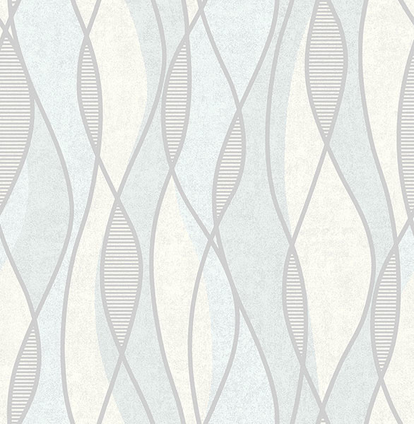 Gyro Light Blue Swirl Geometric Wallpaper Swatch
