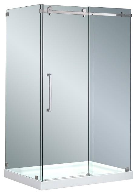"""Moselle Frameless Sliding Shower Enclosure, Stainless Steel, 48""""x35"""", Right Base"""