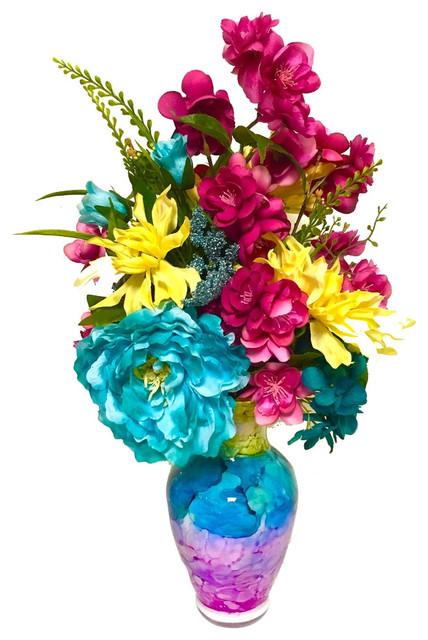 Tall bright floral arrangement centerpiece turquoise yellow and tall bright floral arrangement centerpiece turquoise yellow and pink mightylinksfo