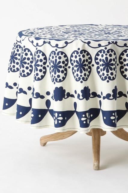 """NIP Anthropologie Mina Tablecloth 90"""" Round Navy Cotton Pinwheels"""