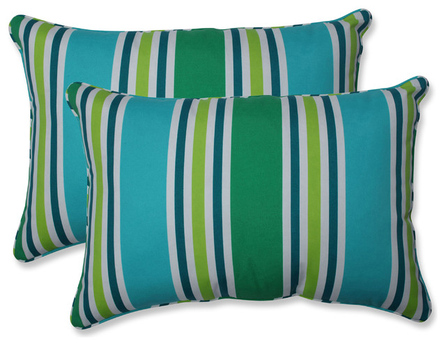 Outdoor Aruba Stripe TurquoiseGreen XL Rectangular Throw Pillow (Set of 2)