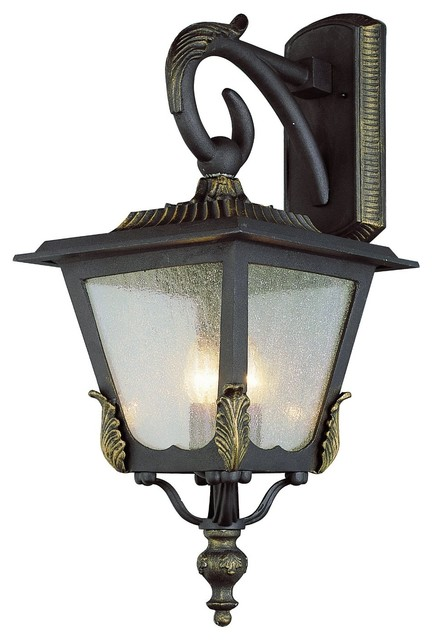 Traditional White Wall Lights : Black Gold And Seeded Glass Exterior Light - Traditional - Outdoor Wall Lights And Sconces - by ...