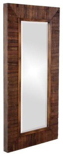 Timberlane Rectangular Faux Walnut Wood Mirror.