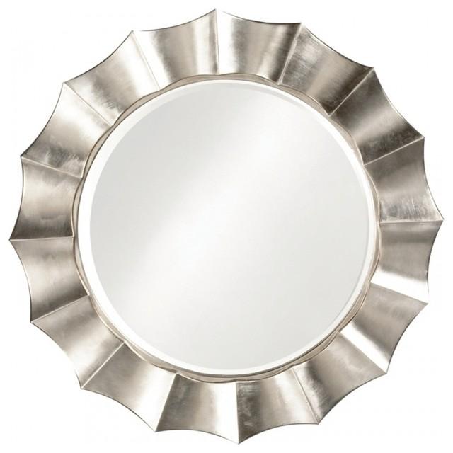 Howard elliott corona round silver leaf mirror reviews for Round silver wall mirror