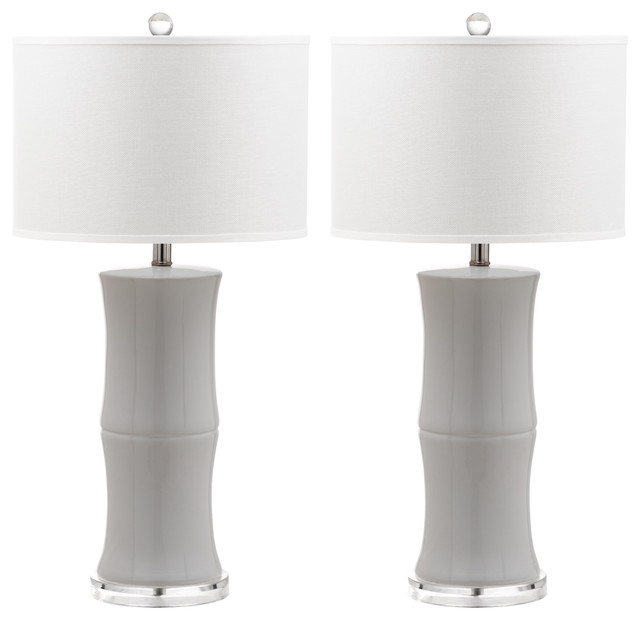 Bamboo Table Lamp, Set Of 2, White Body, Off-White Shade.