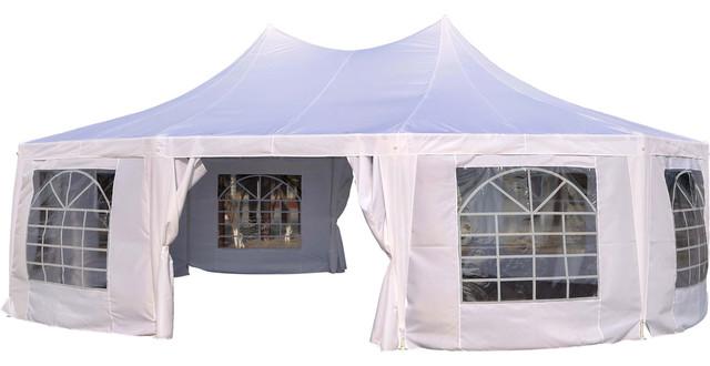 Outsunny 29&x27;x20&x27; Large Heavy Duty Decagon 10-Wall Party Gazebo Tent, White.