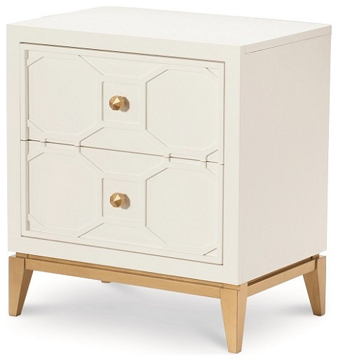 Antoinette White And Gold Nightstand Transitional Nightstands