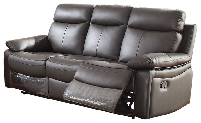 Ryker Upholstered Reclining Leather Sofa With Dual Recliners, Dark Brown
