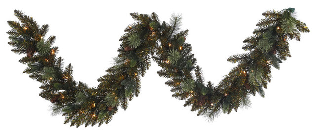 9&x27;x14 Reno Mixed Pine Garland, 50 Clear Lights.