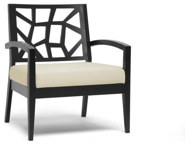 Baxton Studio Jennifer Black Wood And Khaki Fabric Modern Lounge Chair  contemporary-armchairs-and