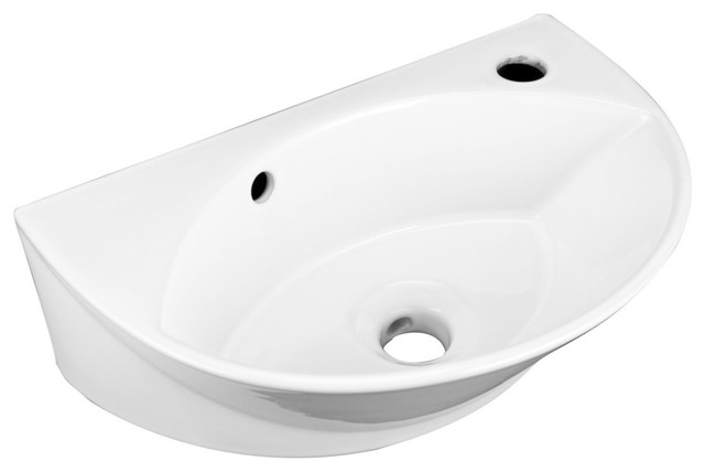 White Small Wall Mount Sink with Single Faucet Hole Overflow