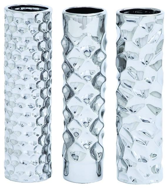 Woodland Imports Round Shape Set Of 3 Ceramic Vase