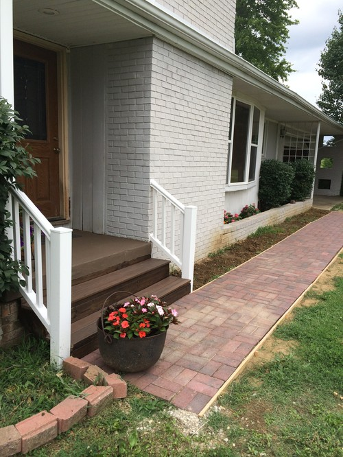 Ideas With Landscaping For Brick Sidewalk That Is Parallel