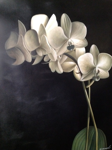 Black white and sage color orchid flower oil painting contemporary